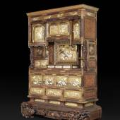 JACQUES BARRÈRE, Shibayama Cabinet Huanghuali, gold lacquer and inlay of ivory and mother of pearl Japan, Meiji period 19th century H 278 x W 190 x D 70 cm
