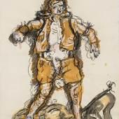 Georg Baselitz, Ein neuer Typ, 1965 Gouache, Kohle, Bleistift, 52 x 39,4 cm, SKD, Sammlung Günther und Annemarie Gercken  © Georg Baselitz 2018, Foto: Andreas Diesend