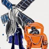 """Grieshaber, HAP 1909 Rot an der Rot - 1981 Reutlingen  Chauffeur bei Don Quijote (Entwurf). Ca. 1977. Mischtechnik (Papiercollage, Aquarell, Kohle) auf leichtem Karton. 50 x 40cm. Entwurf für den Titel des Buches """"Chauffeur bei Don Quijote, Wie HAP Grieshaber in den Bauernkrieg zog"""", Claasen-Verlag, Düsseldorf. Preise & Bieten Schätzpreis: 800 - 1.000 €"""