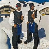 """Alfons Walde (Oberndorf in Tirol 1891 . 1958 Kitzbühel) """"Bauernsonntag"""" Öl auf Karton 54,5 x 46,5 cm links unten signiert (Antiquitäten Kunsthandel Freller)"""