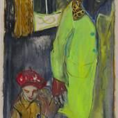Billy Childish girl in red berret , 2014 Öl und Kohle auf Leinen 183 x 91,5 cm © Billy Childish, Carl Freedman London, Lehmann Maupin New York, neugerriemschneider Berlin