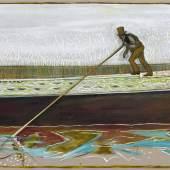 Billy Childish lighterman, River Lee circa 1920, 2013 Öl und Kohle auf Leinen 183 x 305 cm © Billy Childish, courtesy Carl Freedman London, Lehmann Maupin New York, neugerriemschneider Berlin