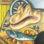 Max Beckmann (1884-1950) Stillleben mit Fisch und Muschel, 1942 Öl auf Leinwand, 95 x 70 cm Privatsammlung © VG Bild-Kunst, Bonn 2014