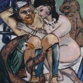 MAX BECKMANN (1884–1950) Odysseus und Kalypso, 1943 Öl auf Leinwand, 150 x 115,5 cm Hamburger Kunsthalle © VG Bild-Kunst, Bonn 2020 © Hamburger Kunsthalle / bpk Foto: Elke Walford