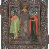 Bedeutende Ikone mit floralem Coisonné-Email-Riza, Jakob Fedorowitsch Mitschukow, 1889, Erlös 29.000 Euro
