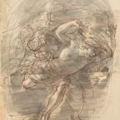 Stefano della Bella (1610 – 1664) Fliehender Mann, o. D. Feder in Braun über schwarzem Stift, grau laviert, 161 x 139 mm © Hamburger Kunsthalle / bpk Photo: Christoph Irrgang