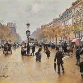 Jean Béraud, Scène de Grands Boulevards un jour de pluie. Estimate $300,000–500,000. To be offered in Sotheby's European Art sale on 24 May in New York.