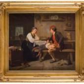 Knud Larsen Bergslien, junge Bauernfamilie in liebevoller Art