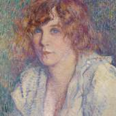 Berko Fine Paintings The beautiful Gertrude Théo Van Rysselberghe (Ghent 1862–1926 Saint-Clair-Var) Belgian school Oil on canvas 45 x 37 cm Monogrammed lower left Provenance: Pogu, Paris Literature: Ronald Feltkamp, 'Théo Van Rysselberghe, 1862-1929', Brussels, 1993, n° 1904-009, ill. p. 346 Works of the artist in the Museums of Brussels, Ghent and Liège