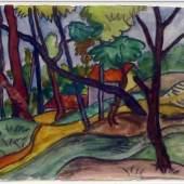 Hermann Hesse, Casa nel bosco. Original-Aquarell auf Bütten-Papier (Antiquariat Biblion 24.000 CHF)