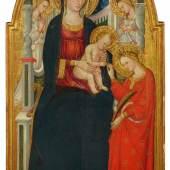 BICCI DI LORENZO  Mystische Vermählung der Heiligen Katharina. Um 1445-50.  Tempera und Goldgrund auf Holz. 165 x 98 cm.  Schätzung: CHF 250 000/350 000  Ergebnis: CHF 340 000