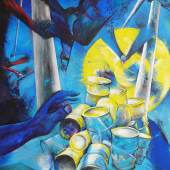 """Herulesaufgabe, (Stymphalia ist überall)"", 2013 Acryl, Öl auf Lw., 210 x 140 cm"