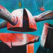 """Aufbau eines Windrades"", 2012 Öl auf Leinwand. , 80 x 100 cm"