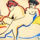 Ernst Ludwig Kirchner Zwei Akte auf Lager (Zwei Modelle), 1907/08 Schwarze und farbige Kreiden auf geripptem Doppelpapier Kunstmuseum Bern, Legat Cornelius Gurlitt 2014 © Kunstmuseum Bern