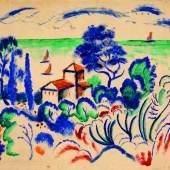 August Macke Landschaft mit Segelbooten, 1913 Farbige und schwarze Tusche auf Karton Kunstmuseum Bern, Legat Cornelius Gurlitt 2014 © Kunstmuseum Bern