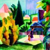 August Macke Im Schlossgarten von Oberhofen, 1914 Aquarell auf Papier Kunstmuseum Bern, Legat Cornelius Gurlitt 2014 © Kunstmuseum Bern