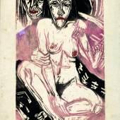 Ernst Ludwig Kirchner Melancholisches Mädchen, 1922 Farbholzschnitt auf Japanpapier Kunstmuseum Bern, Legat Cornelius Gurlitt 2014 © Kunstmuseum Bern