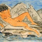 Otto Mueller Liegender weiblicher Akt am Wasser, o. J. Aquarell über schwarzer Kunstkreide auf Papier Kunstmuseum Bern, Legat Cornelius Gurlitt 2014 © Kunstmuseum Bern