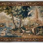 Tapisserie mit Küstenlandschaft, Schiffen und Seevögeln Frankreich, 18. Jahrhundert  © Bayerisches Nationalmuseum Foto Walter Haberland