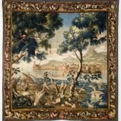 Tapisserie mit Küstenlandschaften, Schiffen und Seevögeln Frankreich, 18. Jahrhundert  © Bayerisches Nationalmuseum Foto Walter Haberland