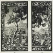 In zwei Fragmente geteilte Tapisserie mit teils versetzten Randstreifen  Foto aus dem Katalog der Auktion vom 11./12. Mai 1036 bei Hugo Helbing (Repro)