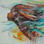 ((Bild Sowah; Bildnachweis: Godwin Adjei Sowah)): Zeitgenössische afrikanische Kunst: Ein Werk des ghanaischen Malers Godwin Adjei Sowah.