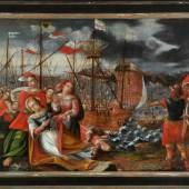 """Bildnismaler des 16./17. Jh., Italien Öl/Lwd, doubl., 78,5 x 112 cm, """" Das Martyrium der Heiligen Ursula von Köln """"  Mindestpreis:1.400 EUR"""