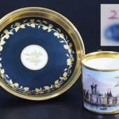 Bildtasse. Untertasse. WIEN, Kaiserliche Manufaktur um 1800/10. Schwarzer Fond Mindestpreis:300 EUR