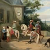 Katalog-Nr. 224 - Bilderuhr, Öl auf Leinwand Mitte des 19. Jahrhunderts - Romantisches Anwesen mit höfischer Gesellschaft