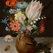 3043 PETER BINOIT Blumenstillleben in einer Engobevase. Öl auf Kupfer. 20,5 x 15,8 cm. CHF 80 000 / 120 000