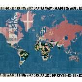Alighiero Boetti, Mappa, 1983 Wolle auf Baumwolle, 116 x 178 cm Sammlung Migros Museum für Gegenwartskunst, Foto: Peter Schälchli, Zürich © 2015 ProLitteris, Zürich