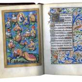 BOOK OF HOURS (USE OF PARIS) In Latin and French, illuminated manuscript on parchment France, Paris, c.1490. 13 full-page miniatures, 2 large miniatures and 24 calendar miniatures by the Master of the Chronique scandaleuse. Les Enluminures