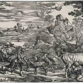 Tizian Die Landschaft mit der Kuhmelkerin, um 1525–1530 Holzschnitt, 305 x 501 mm. Hamburger Kunsthalle, Kupferstichkabinett