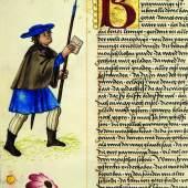 Darstellung eines Boten im Ambraser Heldenbuch 1504–1517