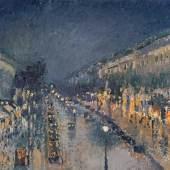 Camille Pissarro: Boulevard Mon t mart r e bei Nacht , ca. 1897 © National Gallery, London