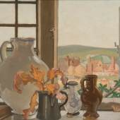 Sir Frank Brangwyn RA, RWS (1867-1956) From my Window at Ditchling Oil on board Circa 1925 © David Brangwyn, courtesy Jerwood Collection.