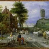 Jan Brueghel d.Ä. Dorfeingang mit Windmühle, 1603/1605 Öl auf Kupfer, 18 x 25,4 cm Privatsammlung