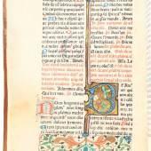 Breviarium Romanum (Breviarium Franciscanum). Auf Pergament gedruckt. (Venedig, Jacobus Rubeus, 1474). (17,5:13 cm). Got. Typ., 2 Kol. Durchgehend in Rot u. Schwarz gedruckt. Mit 10 eingemalten Initialen in Gold.. Schätzpreis:18.000 EUR