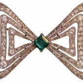 Platinbrosche um 1940 1ct Smaragd u. 6ct Brillanten Antique & Art Füchter
