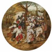 Pieter Brueghel II (1564 - 1637/38) Der Hochzeitstanz, Öl auf Holz, Durchm. 20 cm erzielter Preis € 419.307