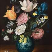 JAN BRUEGHEL D. J.  Blumenstrauss in einer Porzellanvase.  Öl auf Kupfer. 28,4 × 23,2 cm.  Ergebnis: CHF 122 000