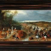 """Brueghel (Bruegel), Jan d.J., 1601 - 1678 Antwerpen Öl/Holz, 49 x 84 cm, """" Überfall auf eine Karawane """", Mindestpreis:250.000 EUR"""