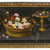 """Jan Brueghel der Jüngere: """"Blumenkorb und Tazza mit Blumen"""" Fotocredit: Auktionshaus im Kinsky"""