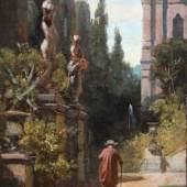 """Dr. Bühler, CARL SPITZWEG München 1808 - 1885 München """"Spaziergang im Park"""" Öl auf Holz - 23,3 x 14 cm Rhombusmonogramm unten links Wvz. Roennefahrt Nr. 607 Wvz. Wichmann Nr. 925"""
