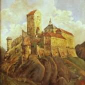 """ID: 2457 Burg Karlstein (bei Prag) von - bis: 2011-12-03 14:20:00-2011-12-03 14:21:59 Kategorie: gemälde Öl auf Eisenblech, unten rechts signiert """"M"""", Böhmen, 19. Jh., 56 x 77 cm, gerahmt, Rahm leicht besch. Zustand 2 Schätzung: 2 000.00 (EUR)"""