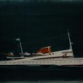 Cäsar Pinnau, Entwurf einer Motoryacht für den Sheikh von Kuweit 1961, Schauzeichnung, Hamburgisches Architekturarchiv, Bestand Cäsar Pinnau