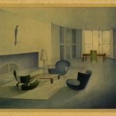 Cäsar Pinnau, Wohnzimmer mit Bibliothek, Studienarbeit, um 1930 Hamburgisches Architekturarchiv