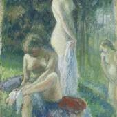 Camille Pissarro (1830-1903) Baigneuses s'essuyant au bord de l'eau. Circa 1896. Gouache on paper mounted on cardboard.   Charly Bailly Fine Art