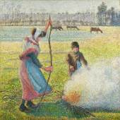 Camille Pissarro, Gelée blanche, jeune paysanne faisant du feu, 1888, oil on canvas, 92.8 by 92.5cm. (est. £8,000,000 – 12,000,000)