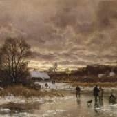 Carl Malchin, Mecklenburgische Dorflandschaft im Winter, 1892 © Staatliche Schlösser, Gärten und Kunstsammlungen Mecklenburg-Vorpommern